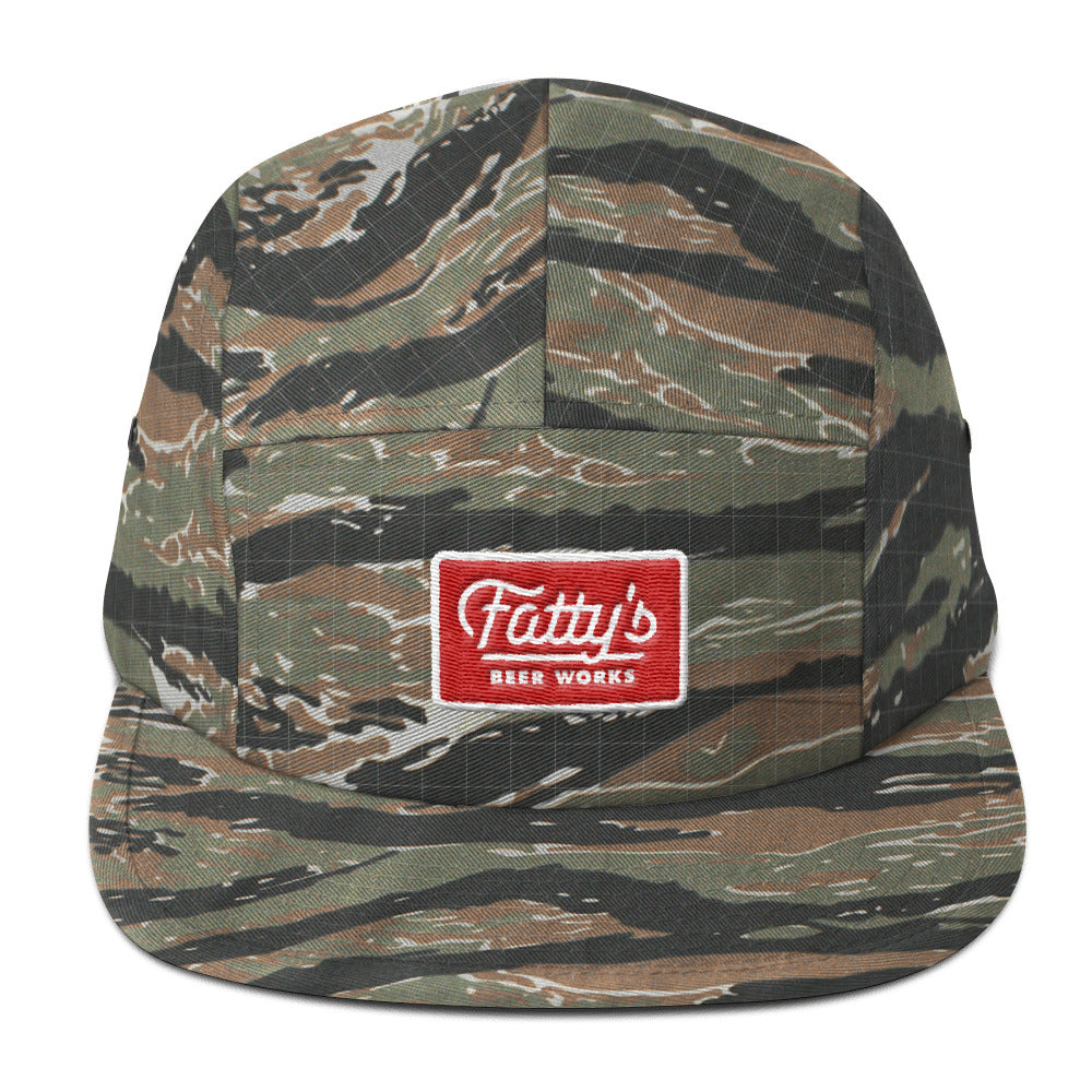 Fatty's 5 Panel Camo Cap with Embroidered Patch Logo