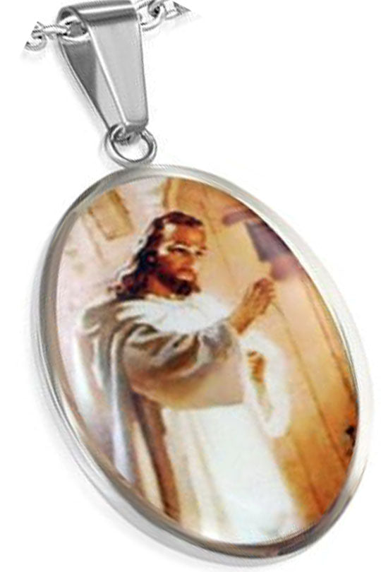 Stainless Steel Picture Necklace... Jesus Knocking On Our Heart's Door