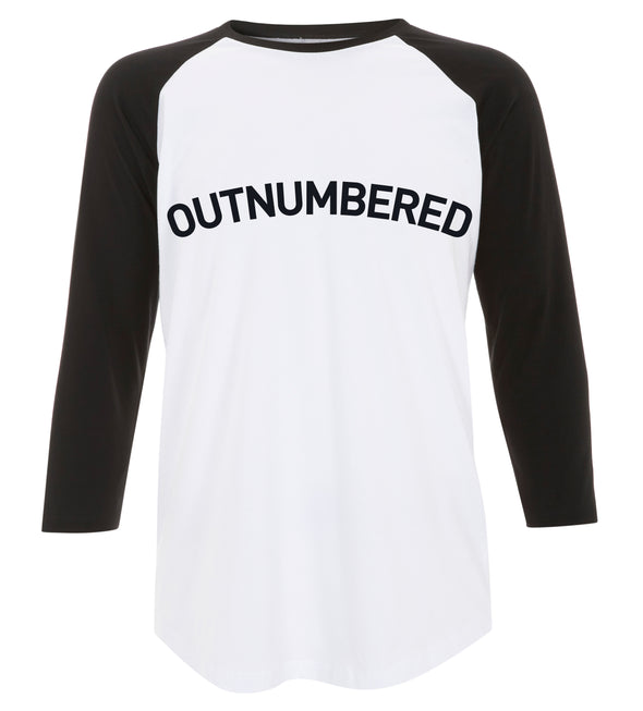 Outnumbered black  - Unisex Baseball T-shirt