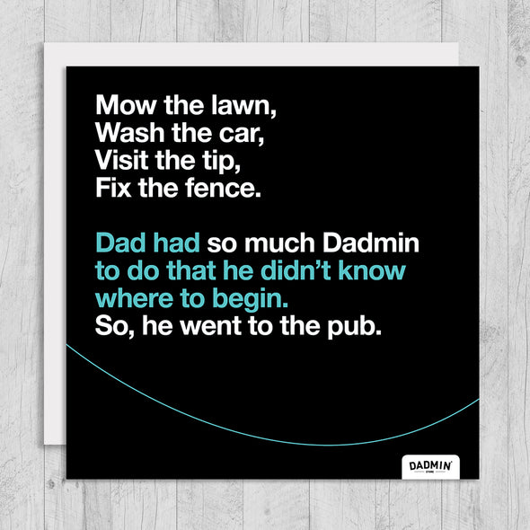 Mow lawn Dadmin - Greeting Card