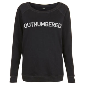 Outnumbered Womens Raglan Sweatshirt Black