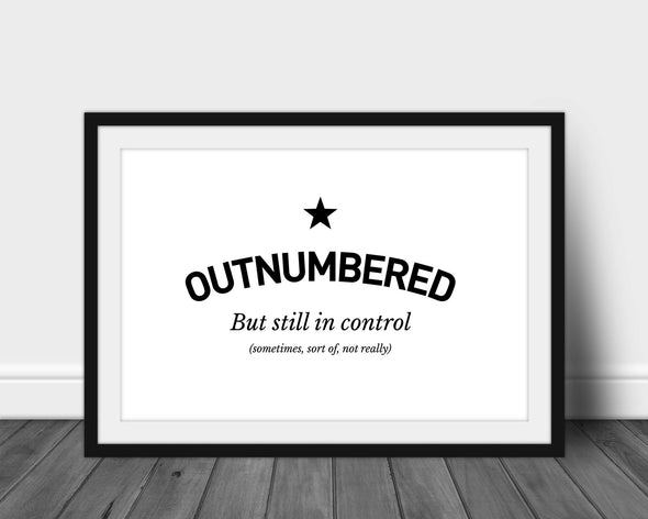 Outnumbered - Large A3 Framed Print (White Frame)