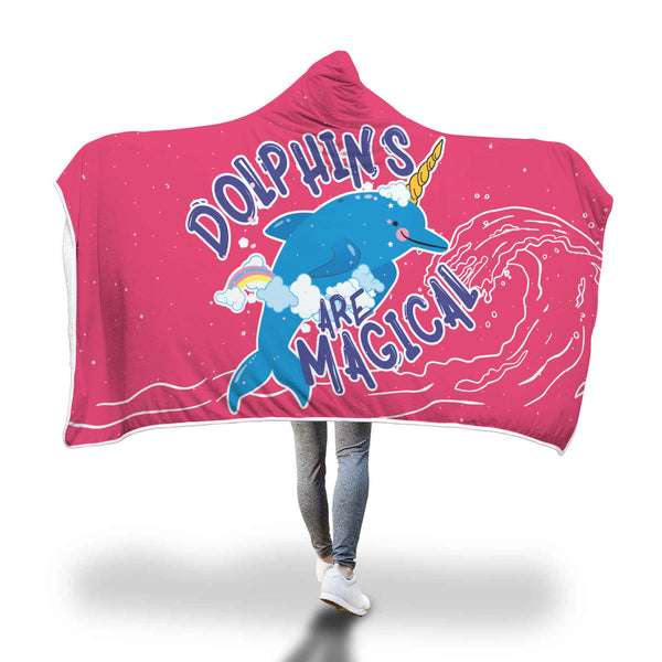 "Cozy ""Dolphins are Magical"" Hooded Blanket"