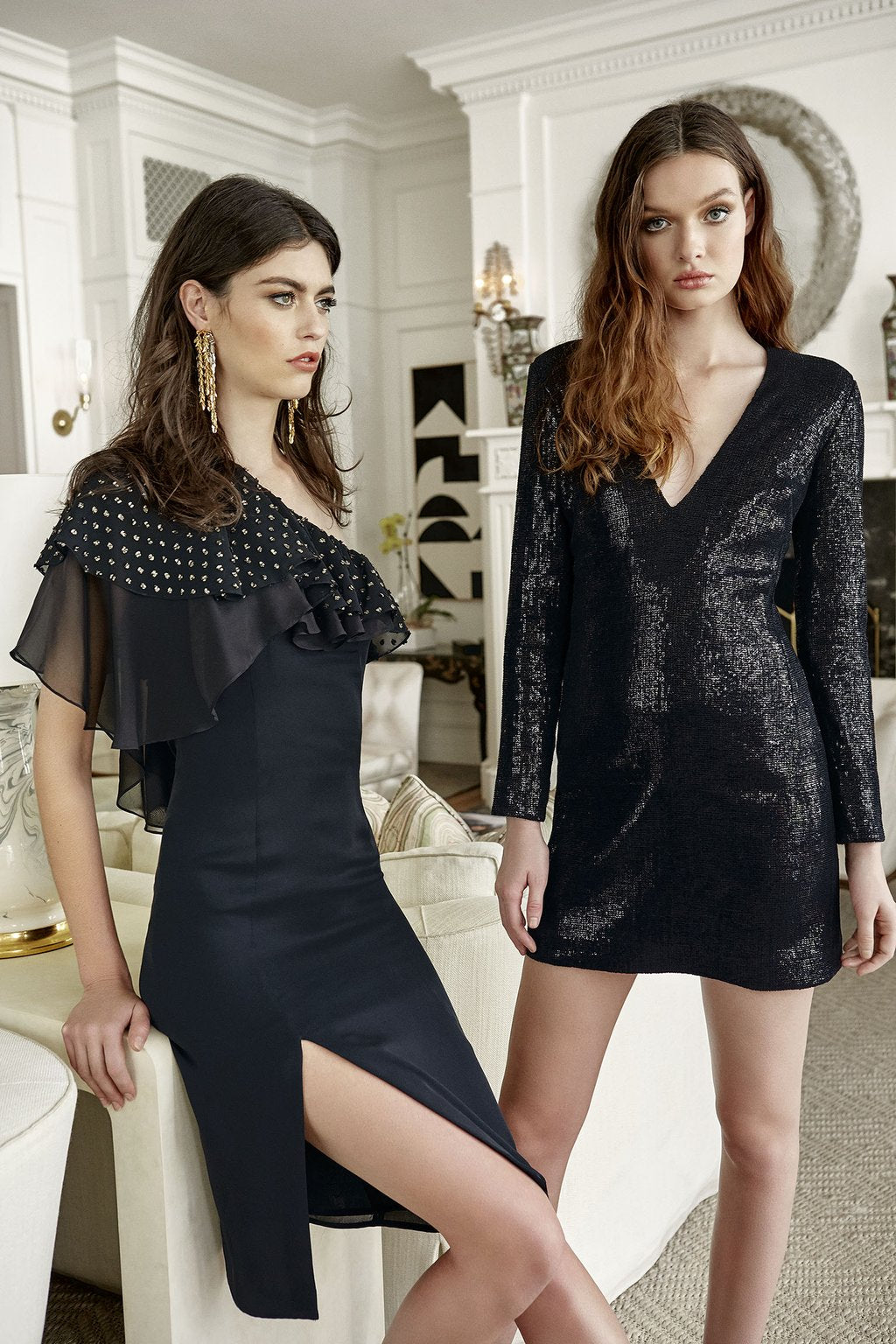 Cynthia One-Shoulder Dress and Hailey Deep-V Dress