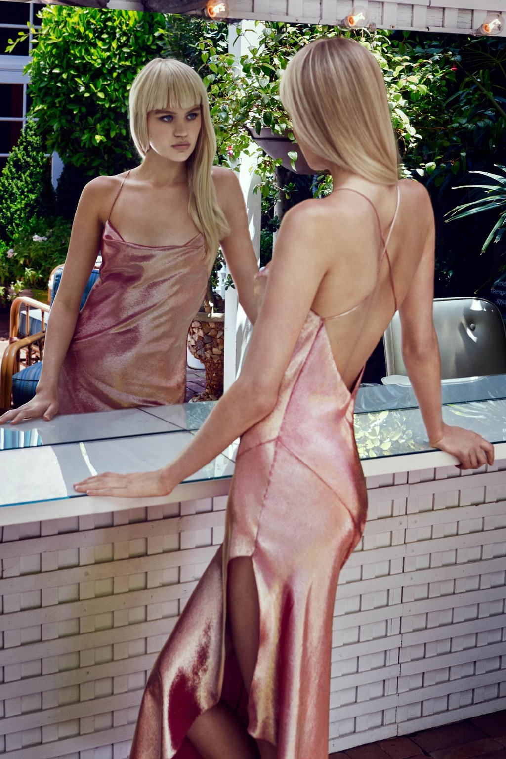 The Goldie Metallic Slip Dress