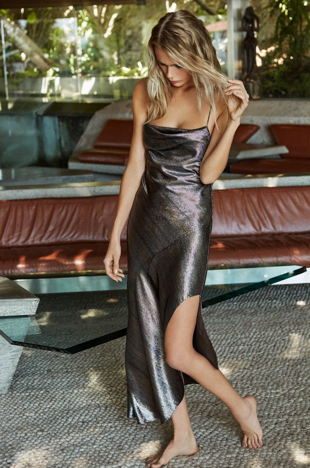 Goldie Metallic Lame Slip Dress