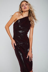 Mila One Shoulder Stretch Sequins Dress