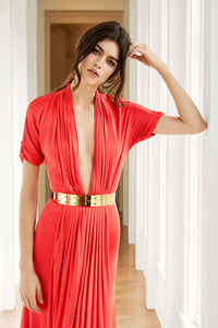 Theodora Deep V-Neck Gown With Pleated Skirt