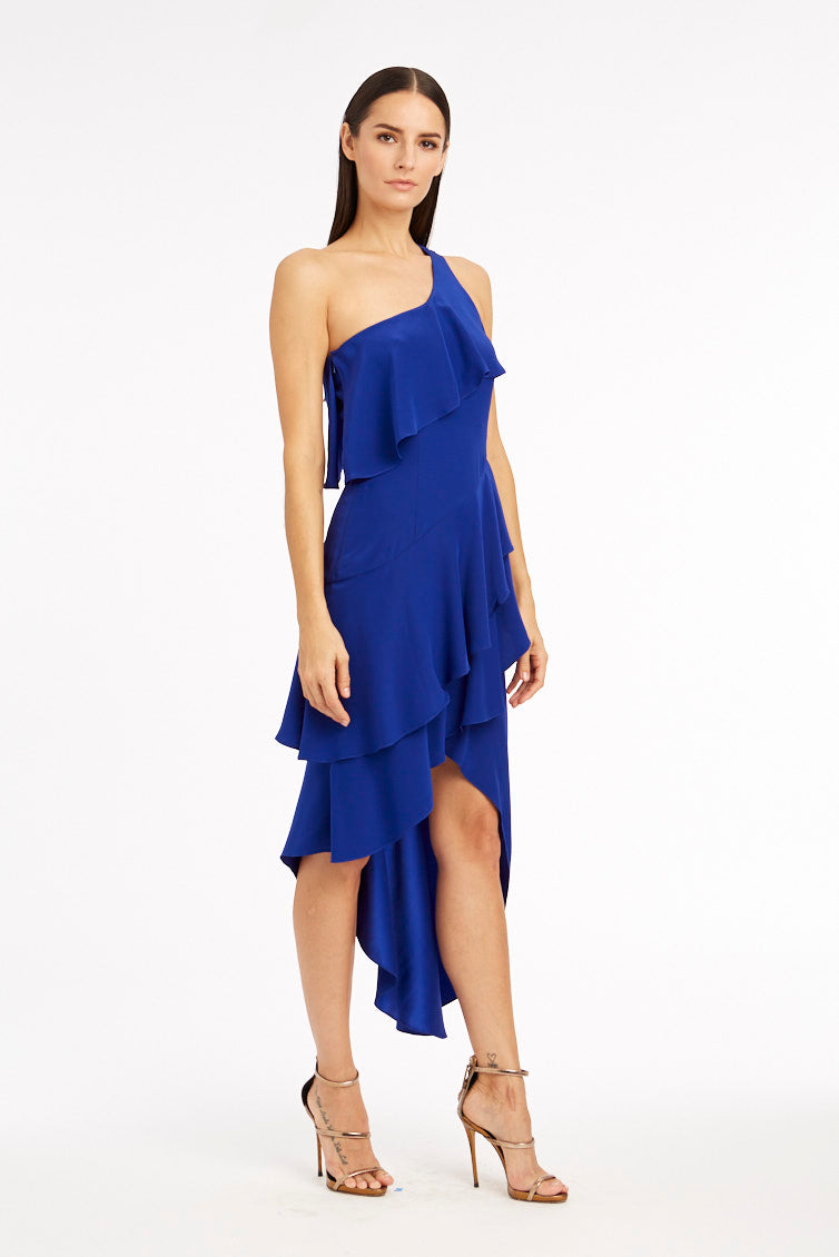 Claudia One-Shoulder Maxi Ruffle Dress