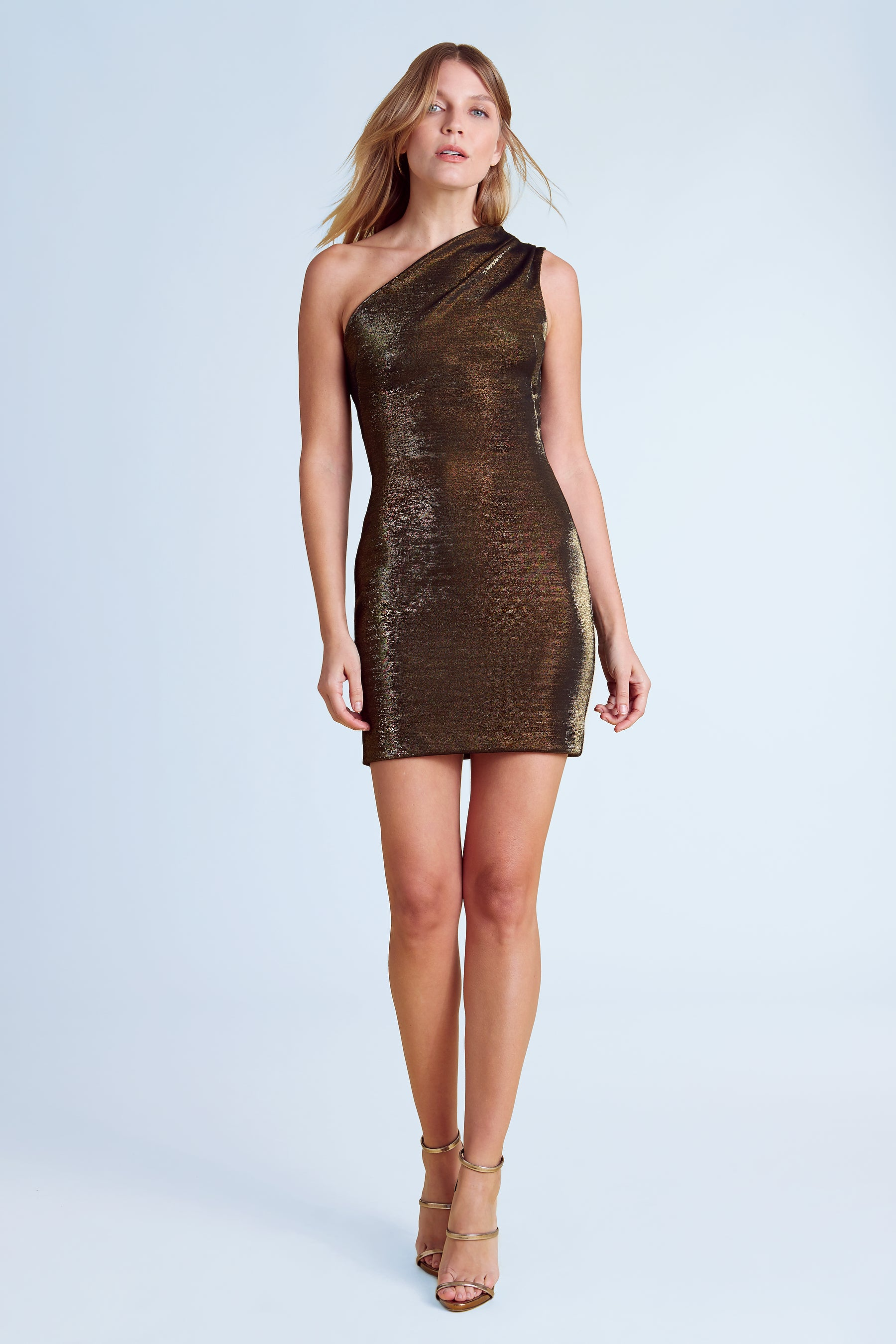 Sexy bronze one-shoulder mini dress