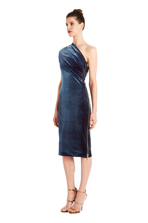 Alexandria One-Shoulder Velvet Dress