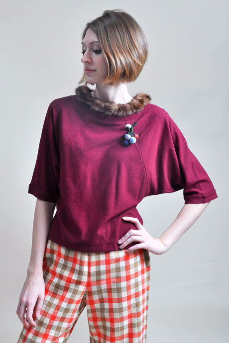 Vintage Dolman Top: 1960s Magenta Statement Winter Top