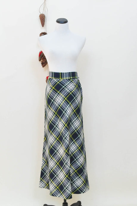 Vintage Tartan Plaid Green & Black Maxi Wool Blend Skirt S