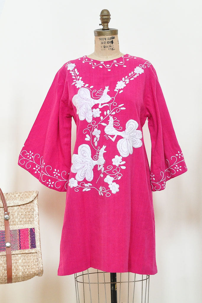 70s Fuchsia Hand Embroidered  Shift Mini