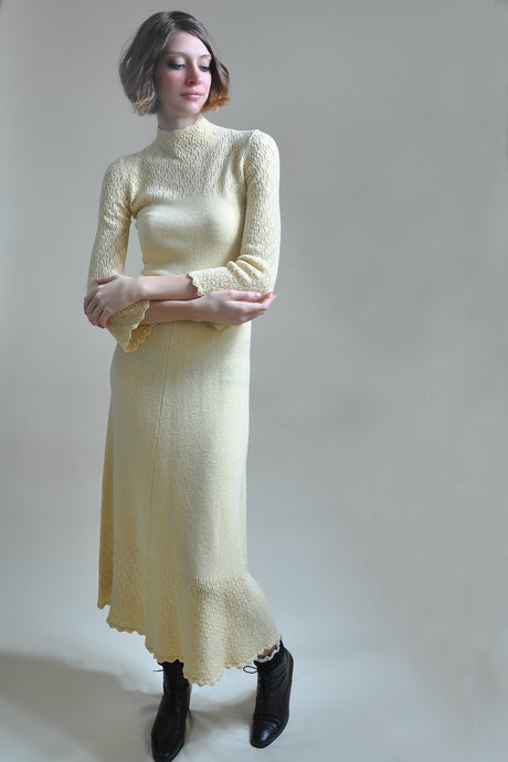 Vintage Butter Cream Knit Pointelle Maxi Dress