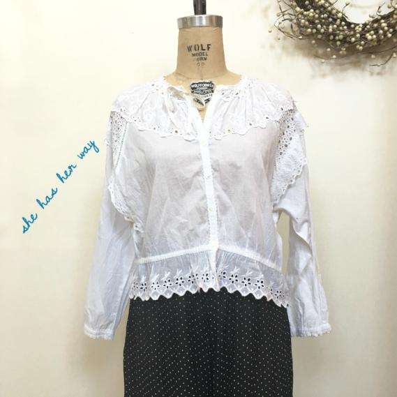 She has her way Batiste Eyelet Lace Blouse