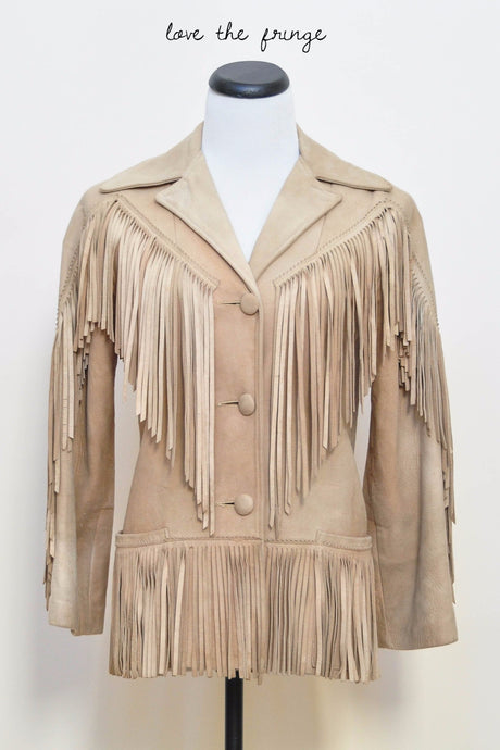 Ladies Buffalo Leather Fringe Coat 1950s Vintage Jacket