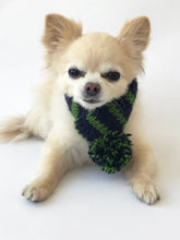Hand knitted doggie pom pom scarf- Navy/ Green Stripes (varies sizes available)