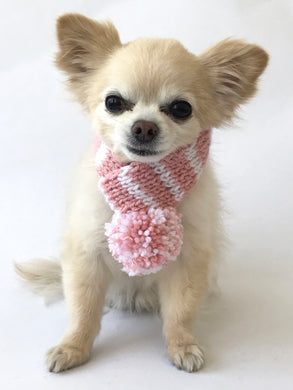 Hand knitted doggie pom pom scarf- Blush/ White Stripes (varies sizes available)