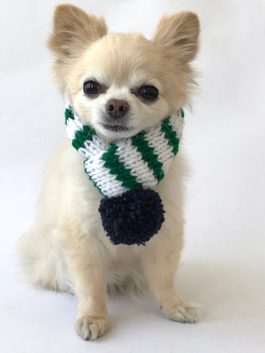 Hand knitted doggie pom pom scarf- White/ Green Stripes (varies sizes available)