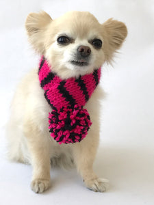 Hand knitted doggie pom pom scarf- hot pink/ black stripes (varies sizes available)