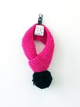 Hand knitted doggie pom pom scarf- hot pink solid (varies sizes available)