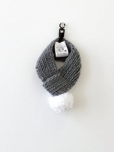 Hand knitted doggie pom pom scarf- Grey solid (varies sizes available)
