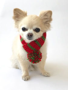 Hand knitted doggie pom pom scarf- Red/ Green stripes (varies sizes available)