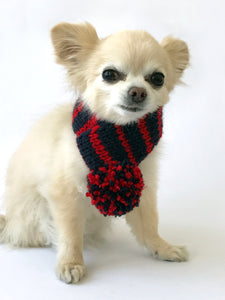 Hand knitted doggie pom pom scarf- Navy/ Red Stripes (varies sizes available)