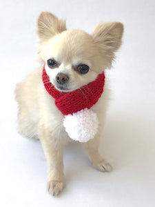 Hand knitted doggie pom pom scarf- Red Santa (varies sizes available)