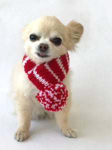 Hand knitted doggie pom pom scarf- Red/ White stripes (varies sizes available)