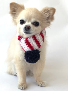 Hand knitted doggie pom pom scarf- White/ Red American pride (varies sizes available)