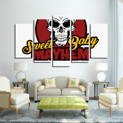 5 Panels Canvas Prints Sweet Baby Mayhem Wall Art for Wall Decorations