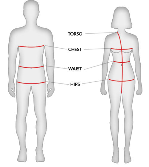 Two mannequins with torso, chest, waist and hips measuremment areas.