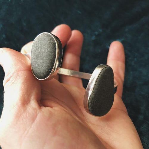 Maine Rocks: Two Stone Open Cuff