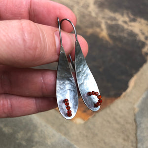 Silver & Coral Hammered Drop Earrings