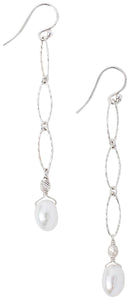 Chan Luu Sterling Silver Chain Link Pearl Drop Earrings