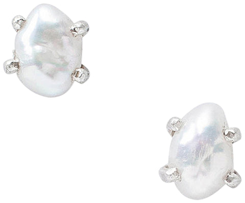 Chan Luu White Freshwater Pearl Stud Earrings