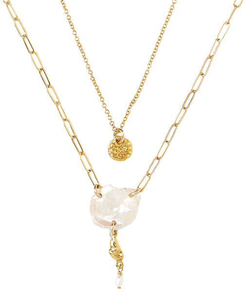 Chan Luu White Freshwater Cultured Pearl Layered Gold Plated Necklace