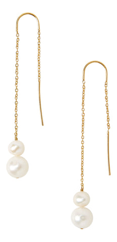 Chan Luu Gold Plated White Freshwater Cultured Pearl Thread-Thru Earrings