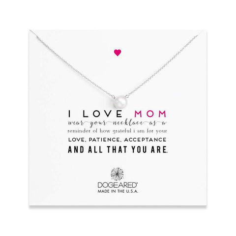 "Dogeared ""Mom"" I Love Mom Large White Pearl Sterling Silver Necklace, 20"""