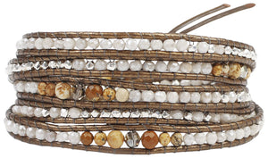 Chan Luu Picture Jasper Mix Semi Precious Stones, Brown Leather Wrap Bracelet