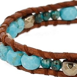 Chan Luu Turquoise Semi Precious Stones and Silver Plated Accents Adjustable Bracelet