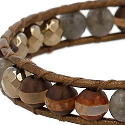Chan Luu Pyrite Beaded Single Wrap Bracelet on Leather