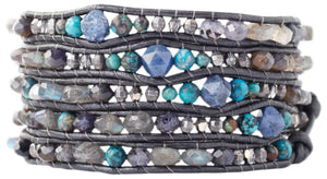 Chan Luu Iolite Mix of Semi Precious Stones and Crystals, Leather Wrap Bracelet