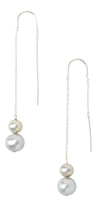 Chan Luu Sterling Silver Grey Freshwater Cultured Pearl Thread-Thru Earrings