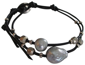 Chan Luu Double Strand Single Wrap Grey Freshwater Cultured Pearl and Black Leather Wrap Bracelet