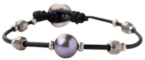 Chan Luu Peacock Freshwater Cultured Pearl and Nuggets Leather Single Wrap Bracelet