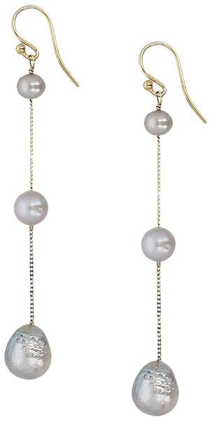 Chan Luu Grey Cultured Freshwater Pearl 18K Gold Plated Tiered Chain Drop Earrings