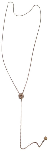 "Tai Gold Plated Crystal Circle 24"" Lariat Necklace"